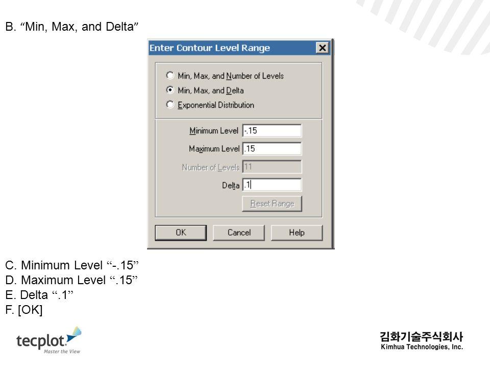 B. Min, Max, and Delta C. Minimum Level -.15 D. Maximum Level .15 E. Delta .1 F. [OK]